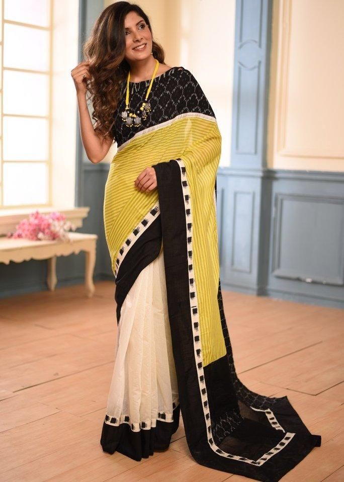 Saree - Yellow Striped Cotton Saree With Ikat Border Andchanderi Pleats With Ikat BP