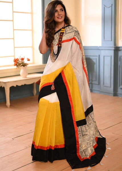 Saree - Yellow & White Chanderi Combination With Printed Border