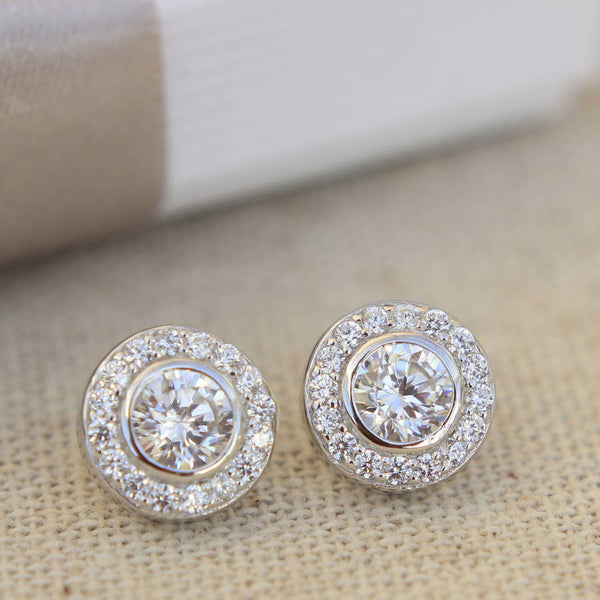 art helon white round women item gold solid wedding earrings engagement deco for stud