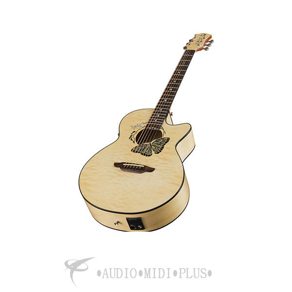 Luna Fauna Butterfly Acoustic Electric Guitar Gloss Natural - FAUBTFLY-U