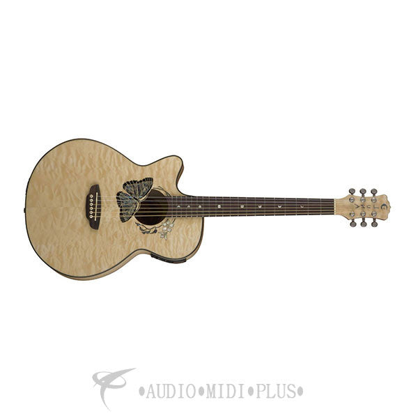 Luna Fauna Butterfly Acoustic Electric Guitar Transparent Natural - FAUBTFLYLEFTY-U