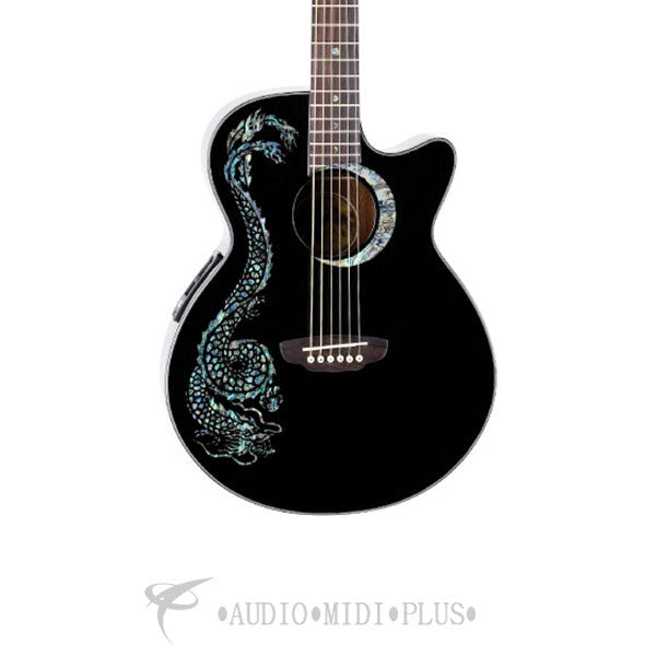 Luna Fauna Dragon Acoustic Electric Guitar - FAUDRABLK-U
