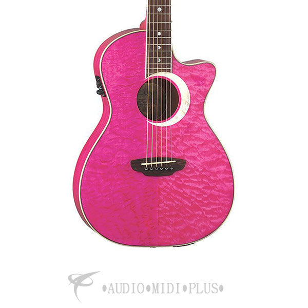 Luna Fauna Eclipse Acoustic Electric Guitar Pink - FAUECLTPK-U