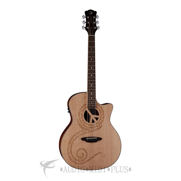 Luna Oracle Series Peace Grand Concert Acoustic-Electric Guitar - OCLPCE-U
