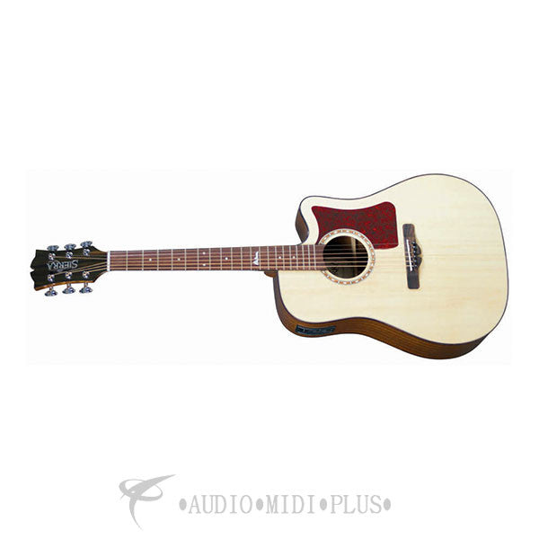 Sierra Alpine Dreadnought Cutaway Acoustic Electric Guitar Gloss Natural - SDS35CE-U