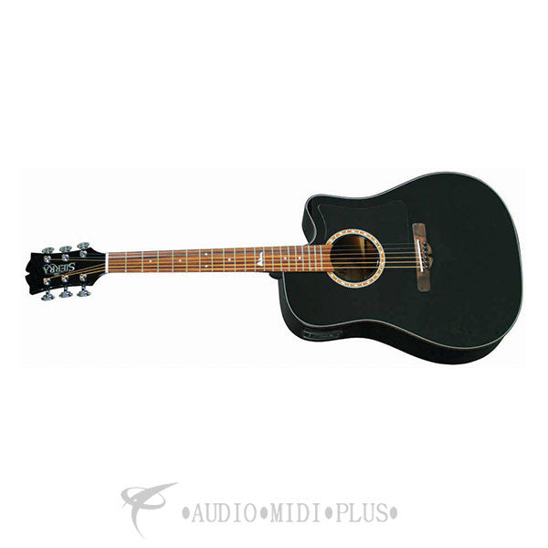 Sierra Alpine Dreadnought Cutaway Acoustic Electric Guitar Black - SDS35CEBK-U
