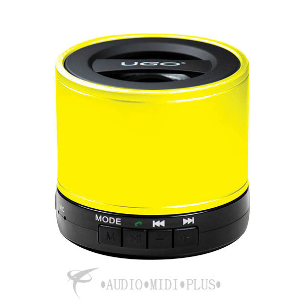 UGO Yellow Portable Bluetooth Speaker with SD Card Playback and Radio - UGOYLLW