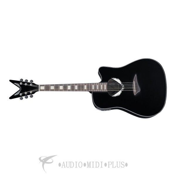 Dean V Wing Dreadnought Thin Body Acoustic-Electric Guitar Black  - VWING-U
