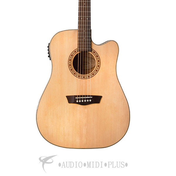 Washburn Harvest Dreadnought Solid Sitka Spruce Acoustic Electric Guitar Natural Gloss - WD7SCE - 801128015309