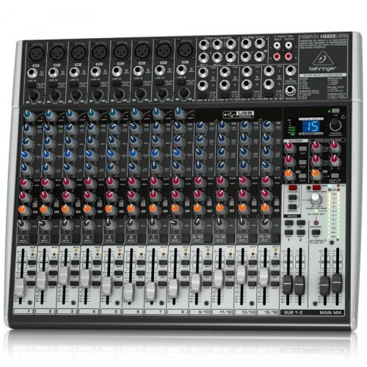 Behringer BEH X2222USB Premium 22-Input 2/2-Bus Mixer with XENYX Mic Preamps & Compressors