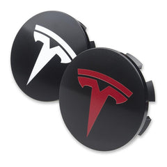 Hjulsenterkapsel - Wheel center hubs - Hvit & Rød - Front - Tesla Model S - Tesla Model X
