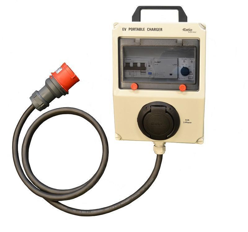 <b>Ratio EV portable - 22kW - 32A/3-fas - Type 2</b>  - Elbilgrossisten