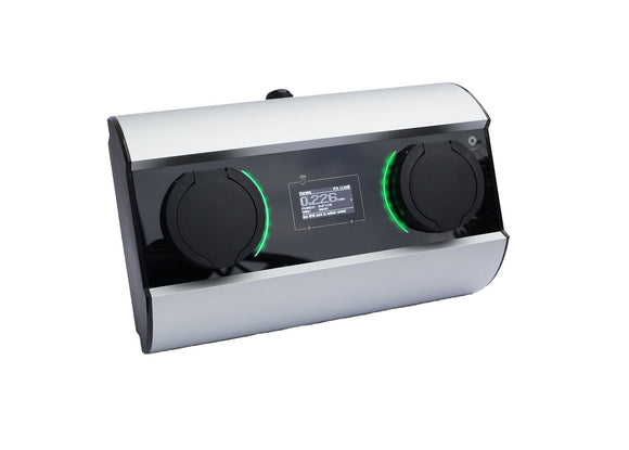 Wallbox Duo Mini - 32A/1-fas - 2x type 2 kontakt - Silver - Elbilgrossisten