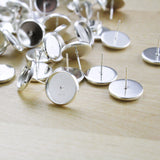 6 | Earring Post Settings | 12mm bright silver plated
