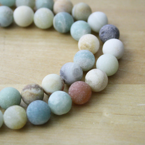 1 Strand | Frosted Multicolored Amazonite Gemstone Beads | 10mm