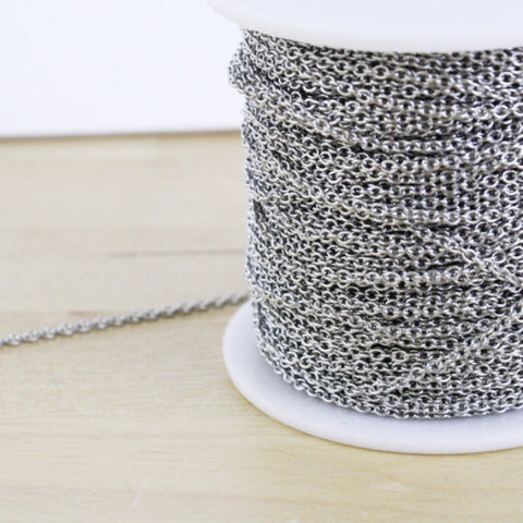 Spool of Stainless Steel Round Cable Chain | 2x2mm