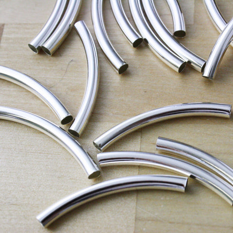 10 | Silver plated Tube Beads | 39x4mm
