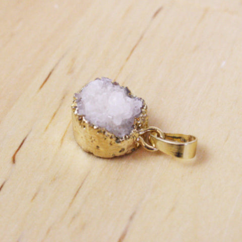 1 | Gold Dipped Druzy Pendant | 15mm