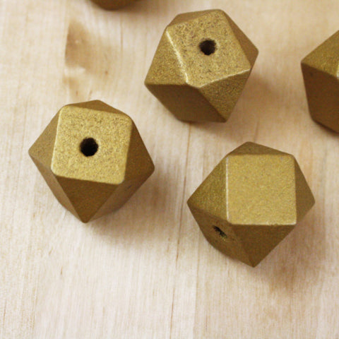 6 | Geometric Gold Wood Beads | 20mm
