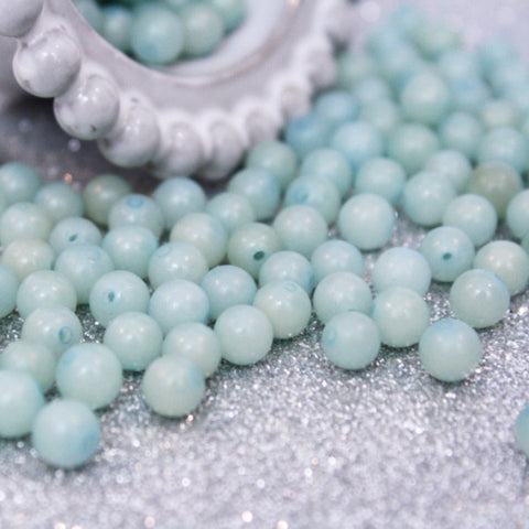 10 | Turquoise Glass Beads | VINTAGE | 6mm