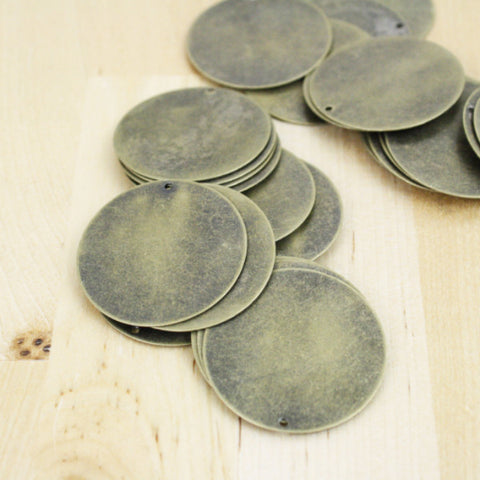 4 | Blank Circle Charms | 34mm stamping pendants antique bronze
