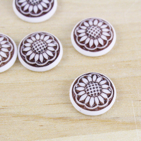 2 | Glass Sunflower Cabochons | VINTAGE | 14mm