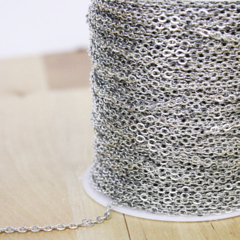 Spool of Antique Silver Oval Cable Chain | Flat Link | 3x2mm