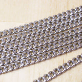 2 Feet | Stainless Steel Chunky Curb Chain | Flat Link | 4x5mm