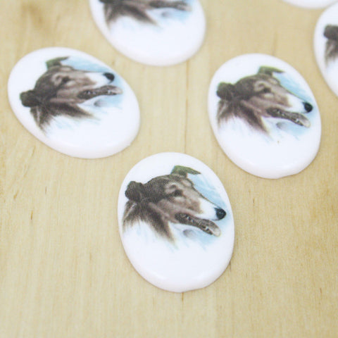 2 | Collie Dog Cabochons | VINTAGE | 18x25mm