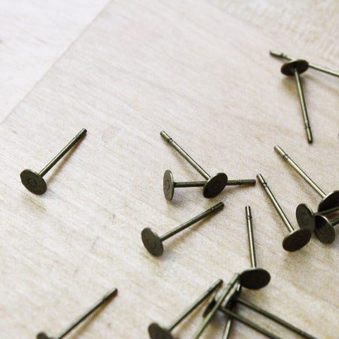 Antique Bronze Plated Earring Posts | 4mm