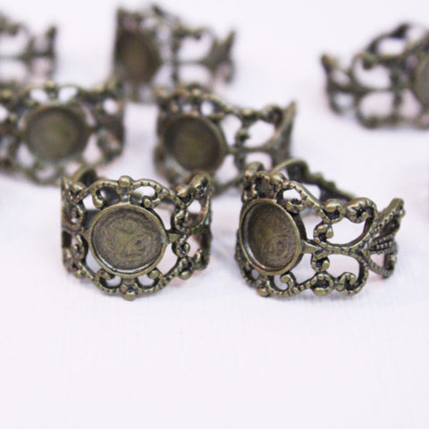 2 | Antique Bronze Filigree Ring Base | 8mm