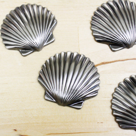 2 | Gunmetal Sea Shell Stampings | VINTAGE | 36x40mm