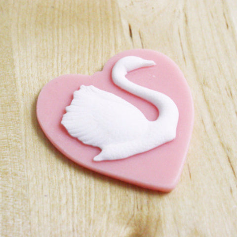 Swan Heart Cabochon 46x52mm, Valentines Day Crafts, Pink Heart
