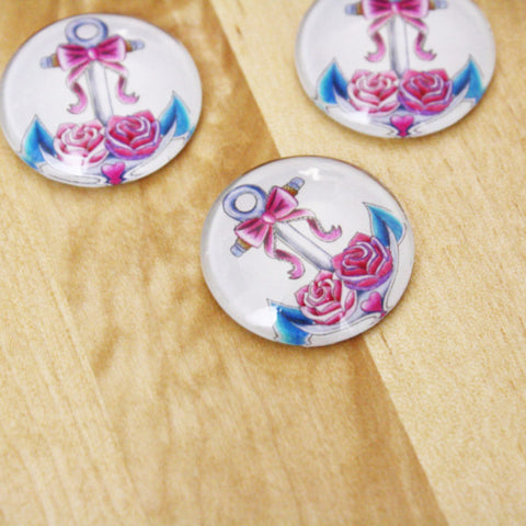 6 | Anchor Glass Cabochons | 25mm