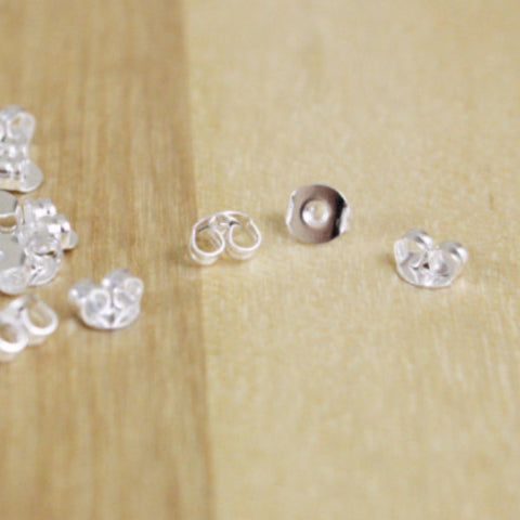 50 | Silver Plated Earring Backs | 5mm