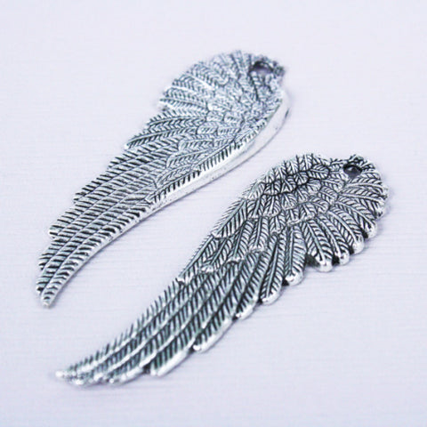 2 | Antique Silver Wing Pendants | 51x17mm