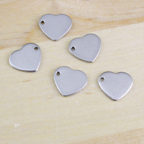 6 | Blank Heart Charms | 10x11mm
