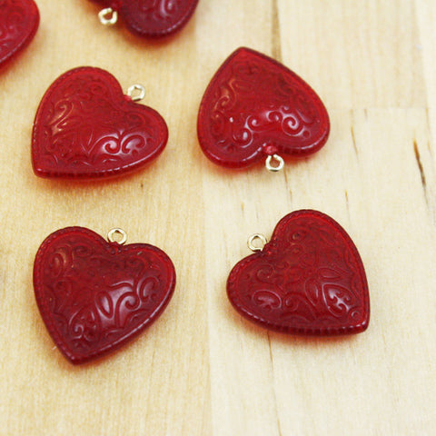 2 | Heart Charms | VINTAGE | 21x20mm