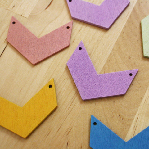6 | Pastel Chevron Wood Pendants | 40x45mm