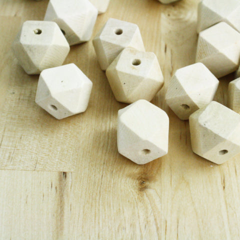 6 | Geometric Wood Beads | 20mm