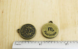 1 | Antique Bronze Zodiac Charm | 17mm