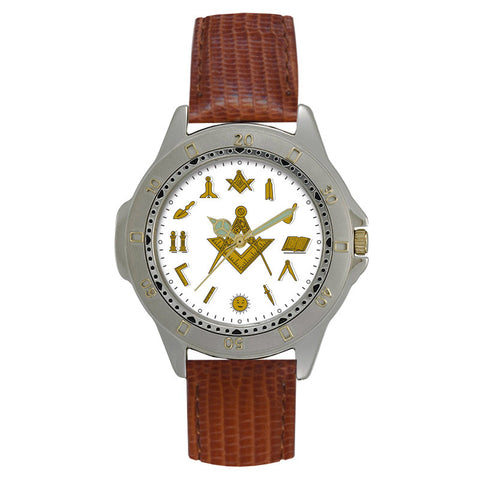 Masonic PML12 - Square and Compass Leather Strap Watch
