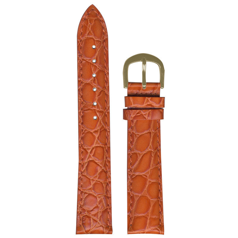 Orange Croco-Grain Strap