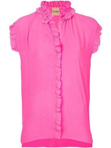 Neon pink ruffle front blouse