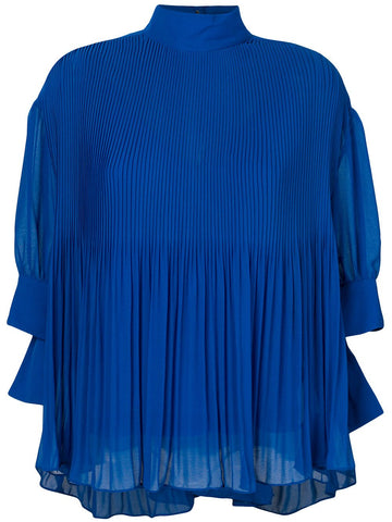 pleated high collar blouse