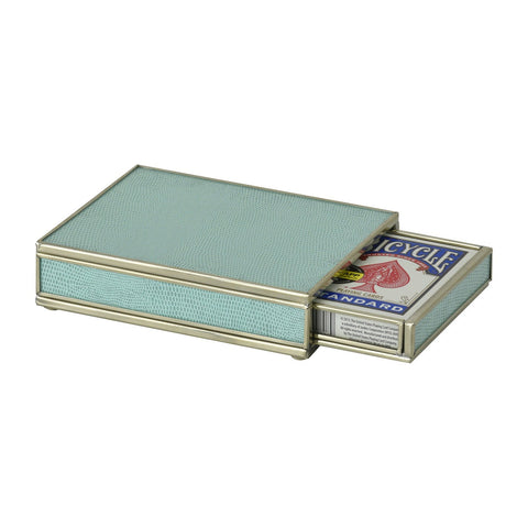 Nickel and Glass Playing Card Box - Sea Foam
