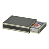 Nickel and Glass Playing Card Box - Black
