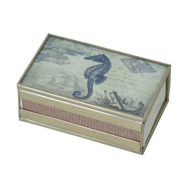 Nickel and Glass Matchbox Cover - Seahorse