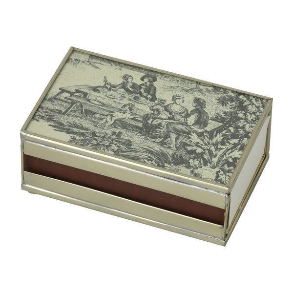 Nickel and Glass Matchbox Cover - Black Toile