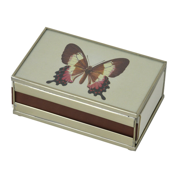 Nickel and Glass Matchbox Cover - Butterfly